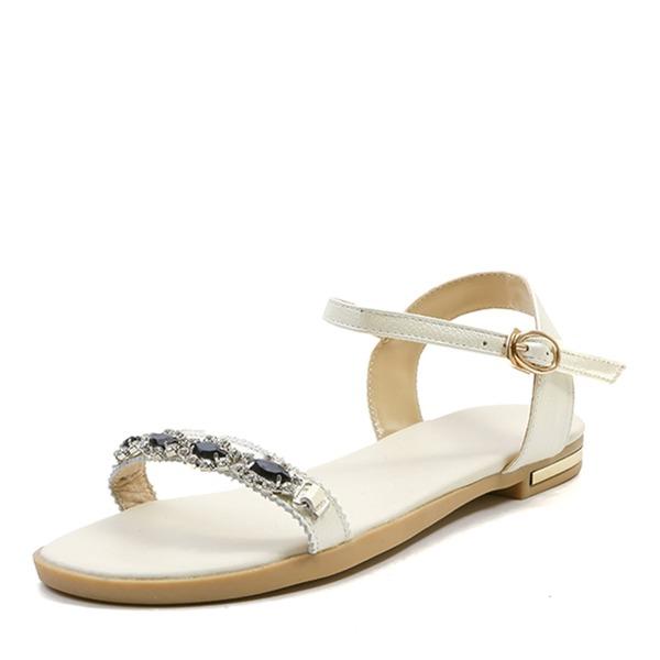 Vrouwen Echt leer Flat Heel Sandalen Flats Peep Toe Slingbacks met Strass Gesp schoenen
