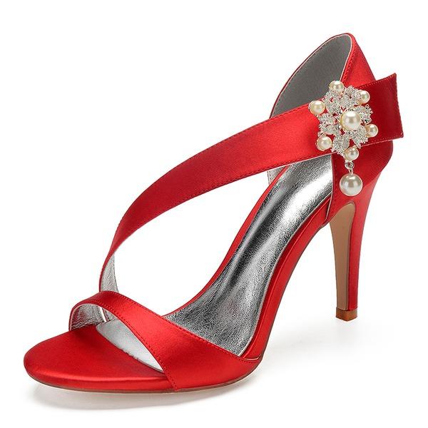 Kvinnor siden som satin Stilettklack Öppen tå Pumps Sandaler med Oäkta Pearl Strass Pärla Button Kardborre