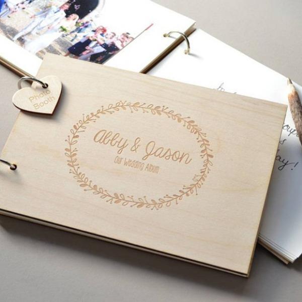 personalisierte Design Holz Gästebuch