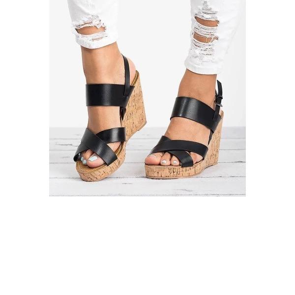 Frauen Kunstleder Keil Absatz Sandalen Absatzschuhe Keile mit Schnalle Schuhe