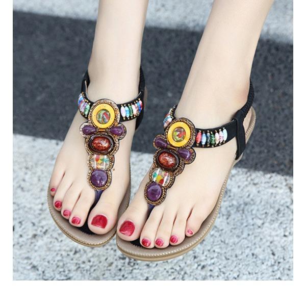 Vrouwen Kunstleer Flat Heel Sandalen Flats Peep Toe met Strass Elastiek schoenen