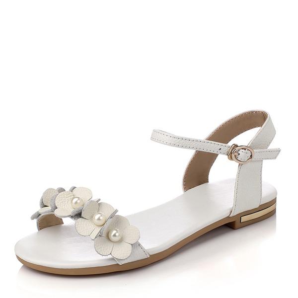 Mulheres PU Sem salto Sandálias Sem salto Peep toe com Pérola Imitação Fivela sapatos