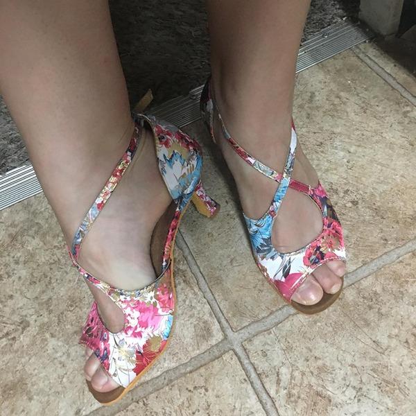 Femmes Satiné Talons Latin avec Fleur en satin Chaussures de danse