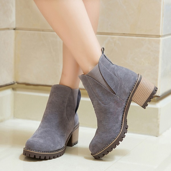 Women's Suede Chunky Heel Pumps Boots Ankle Boots With Elastic Band shoes
