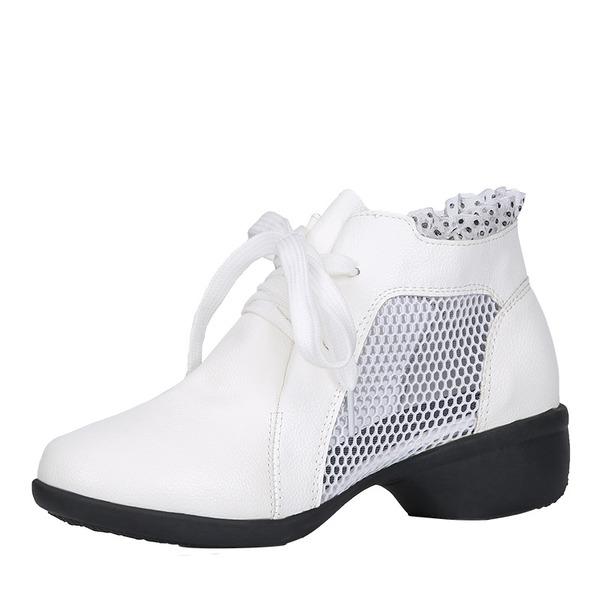 Donna Similpelle Pizzo Mesh Stivali Sneakers stile moderno Jazz Scarpe da Ginnastica Stivaletti Scarpe da ballo
