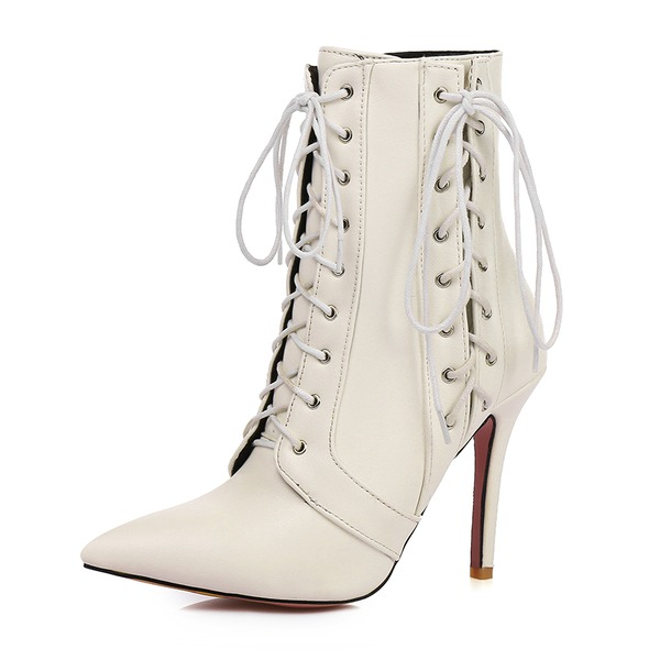 Women's Leatherette Stiletto Heel Pumps Boots Martin Boots With Lace-up shoes