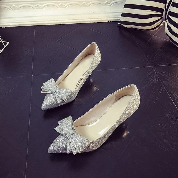 Femmes Pailletes scintillantes Talon stiletto Escarpins Bout fermé avec Bowknot Paillette chaussures