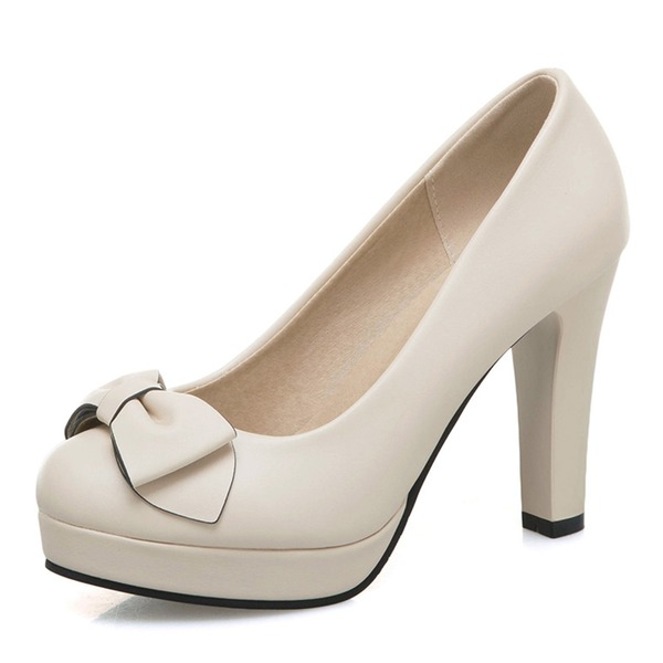 Naisten Keinonahasta Chunky heel Platform jossa Bowknot kengät