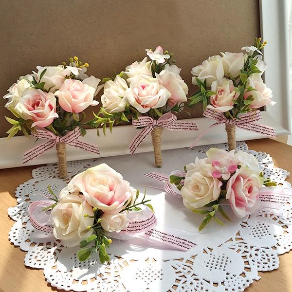 Kunstig Silke Flower Sets (sæt af 2) - Håndledskorsage/Boutonniere