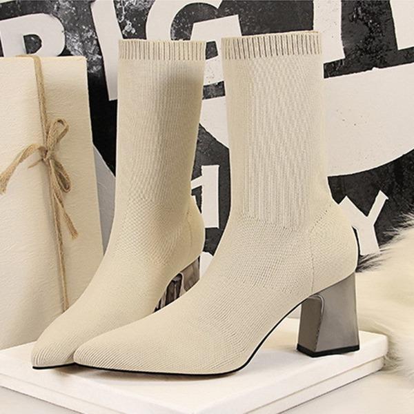 Mulheres Malha Salto robusto Bombas Fechados Botas Botas na panturrilha com Aplicação de renda Salto de cristal sapatos