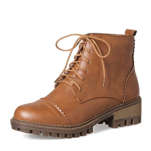 Femmes PU Talon bottier Bottes Bottines Martin bottes avec Dentelle chaussures