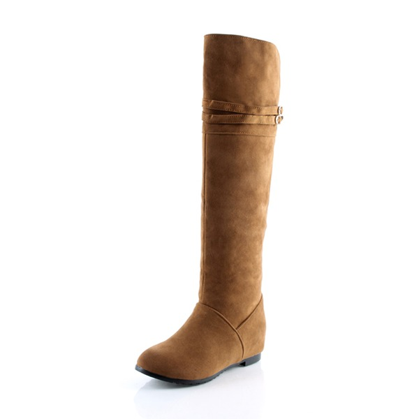 Frauen Veloursleder Niederiger Absatz Geschlossene Zehe Stiefel Kniehocher Stiefel Stiefel über Knie mit Schnalle Schuhe