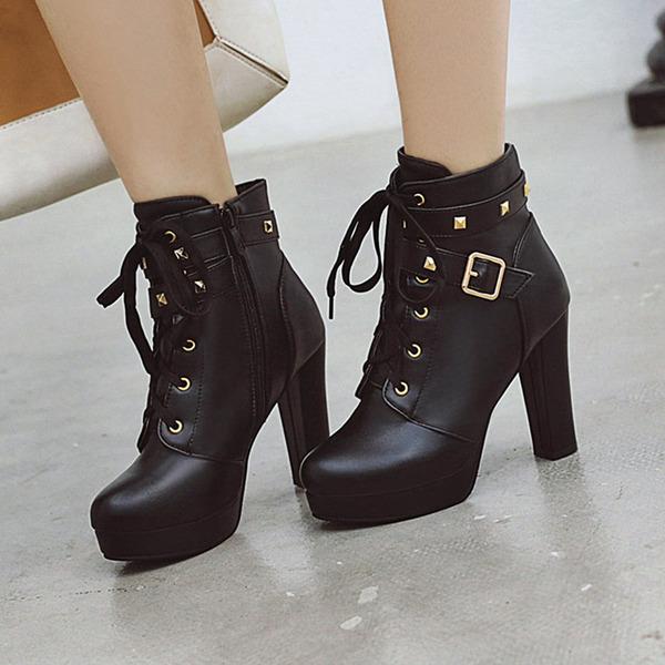 Kadın PU İnce Topuk Bot Ayak bileği Boots Ile Toka Fermuar Bağcıklı ayakkabı
