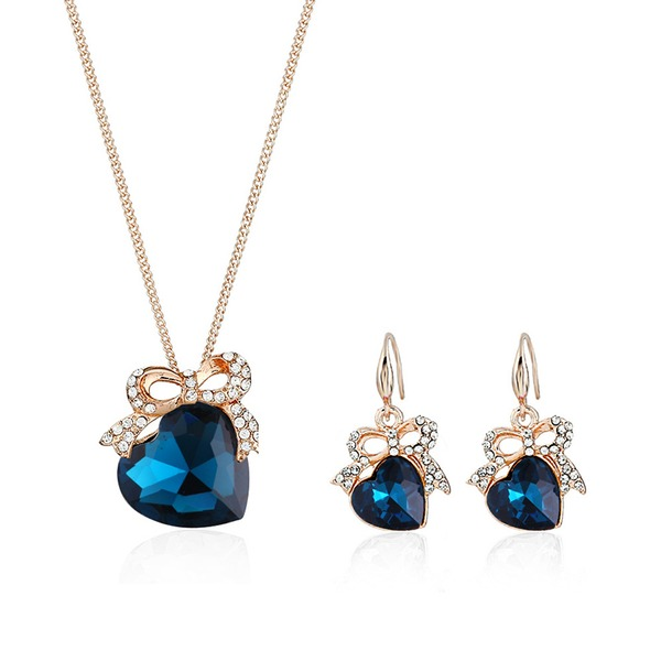 Luminoso Liga Strass Vidro com Strass Mulheres Conjuntos de jóias (Conjunto de 2)