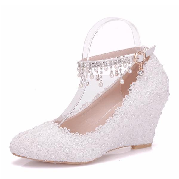Women's Leatherette Wedge Heel Closed Toe Wedges With Satin Flower Tassel Crystal