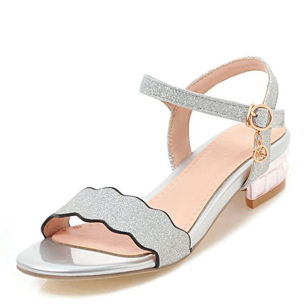 Mulheres Salto robusto Sandálias com Lantejoulas Fivela sapatos
