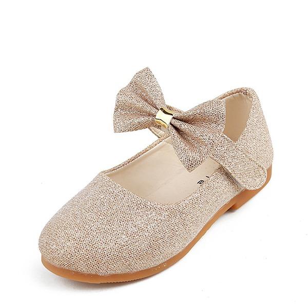 Muchacha Kunstleder Talón plano Planos Zapatos de niña de las flores con Bowknot Velcro