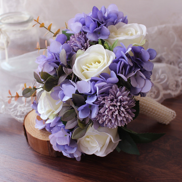 Comely Round Silk Flower Bridal Bouquets - Bridal Bouquets