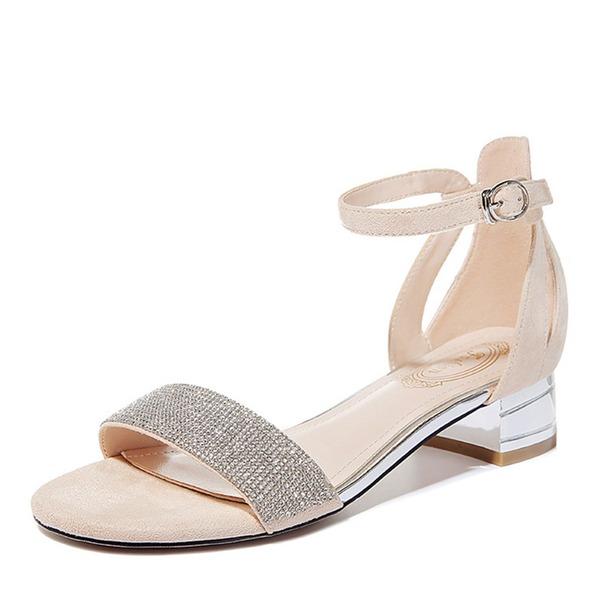 Vrouwen Sprankelende Glitter Low Heel Peep-toe Sandalen
