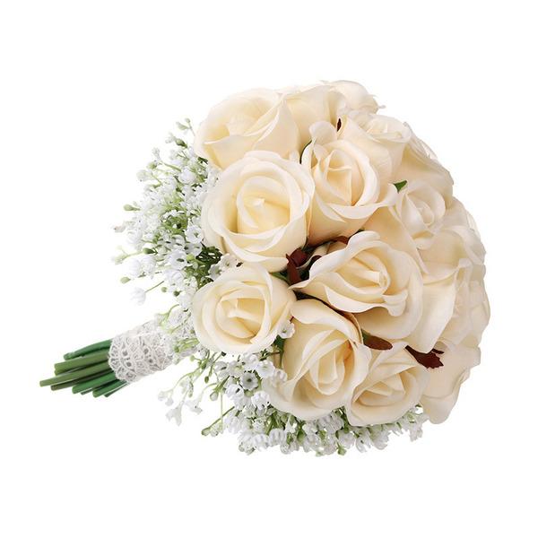 Femenino Redondo Flores Artificiales Ramos de novia - Ramos de novia