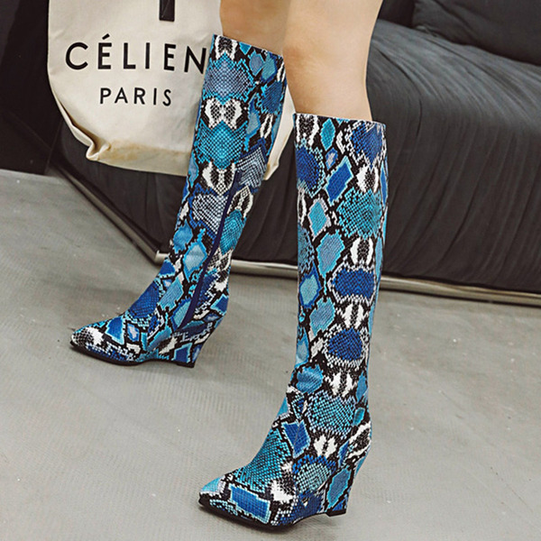 Women's PU Wedge Heel Mid-Calf Boots With Animal Print Zipper shoes