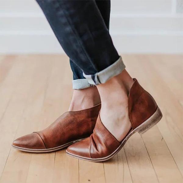 Mulheres Couro Salto baixo Sem salto sapatos