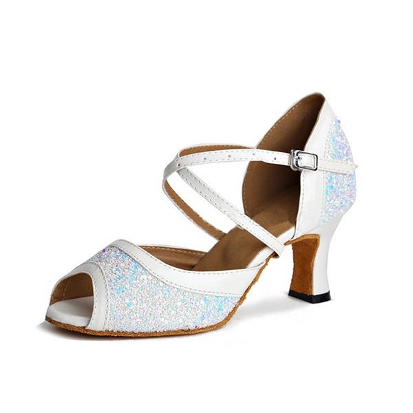 Donna Glitter scintillanti Sandalo Latino con Listino alla caviglia Scarpe da ballo