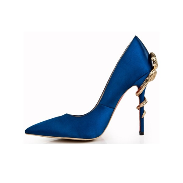 Kvinnor Silke Stilettklack Pumps Stängt Toe med Spänne skor