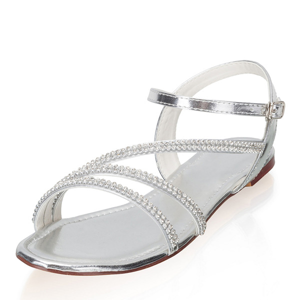 Women's Leatherette Flat Heel Flats Peep Toe With Buckle Rhinestone