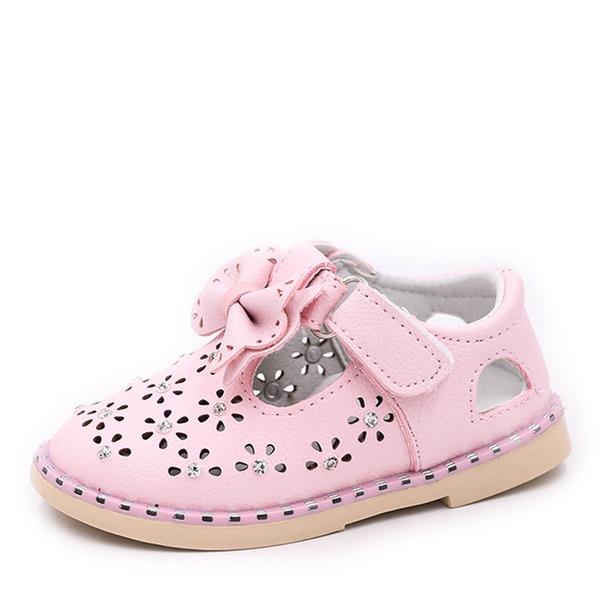 Fille de bout rond Bout fermé talon plat Chaussures plates Sneakers & Athletic Chaussures de fille de fleur avec Bowknot Velcro