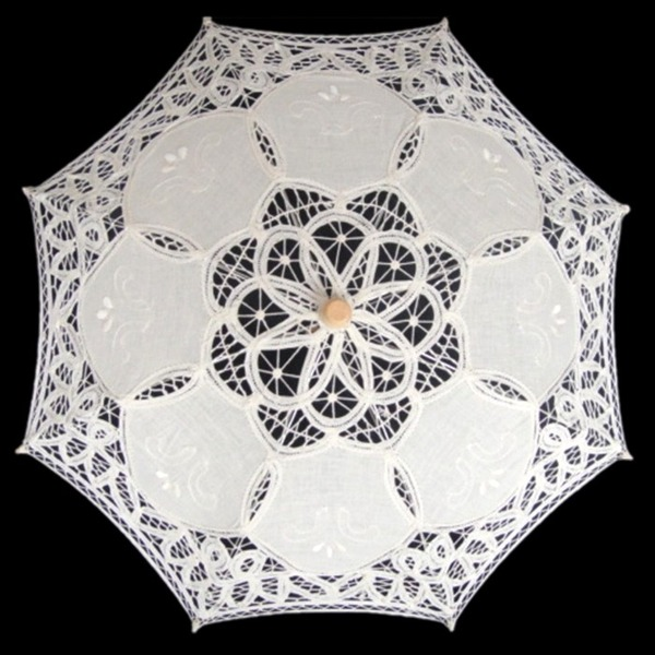 Cotton Wedding Umbrellas With Embroidery
