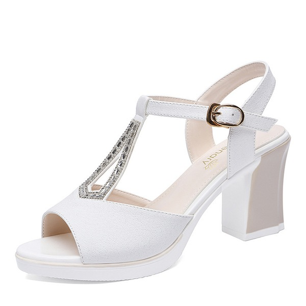 Women's Leatherette Chunky Heel Peep Toe Slingbacks With Crystal