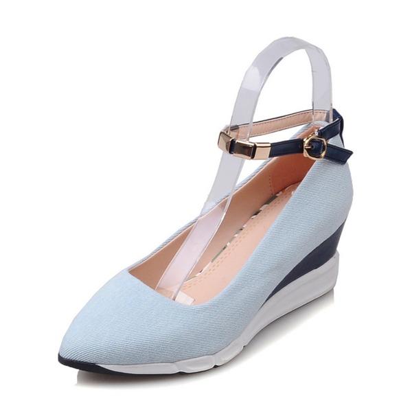 Kadın Denim Dolgu Topuk Kapalı Toe Takozlar Ile Toka ayakkabı