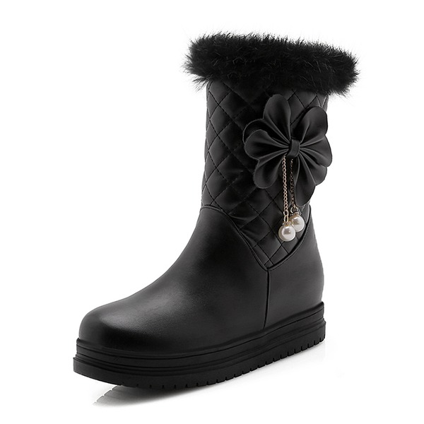 Frauen Kunstleder Flascher Absatz Geschlossene Zehe Stiefel Stiefel-Wadenlang Schneestiefel mit Bowknot Pelz Schuhe
