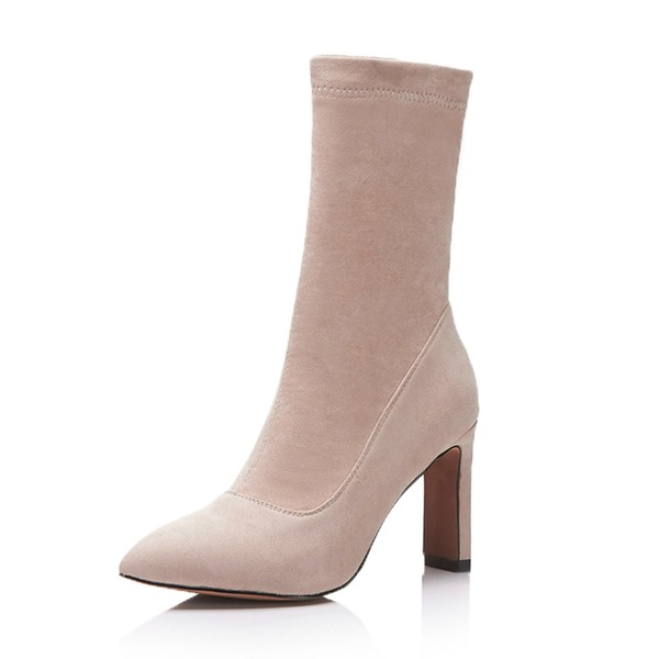 Women's Suede Stiletto Heel Pumps Boots Mid-Calf Boots With Others shoes