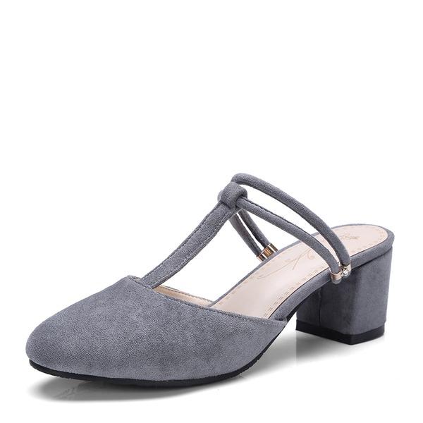 Vrouwen Suede Chunky Heel Sandalen Pumps Slingbacks met Anderen schoenen