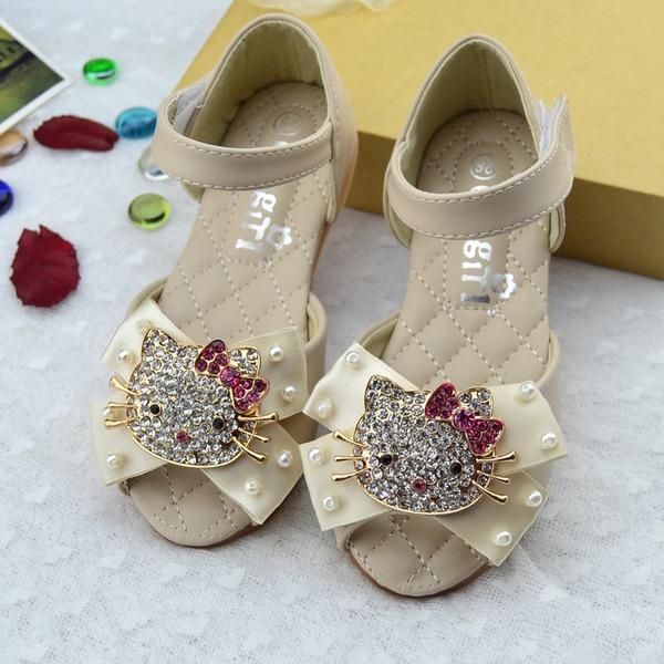 Jentas Titte Tå Leather flat Heel Sandaler Flate sko Flower Girl Shoes med Bowknot Velcro Crystal