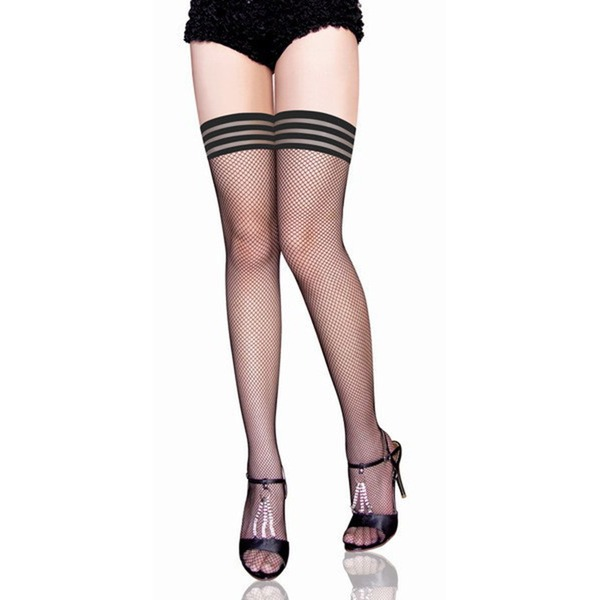 Stripe Tip Nylon Chinlon Stay-Up Stockings