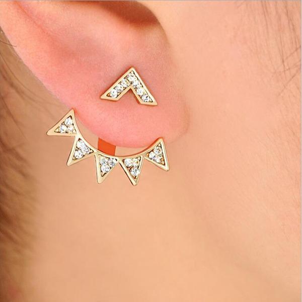 Schöne Legierung Strasssteine mit Strass Frauen Art-Ohrringe (Set von 2)