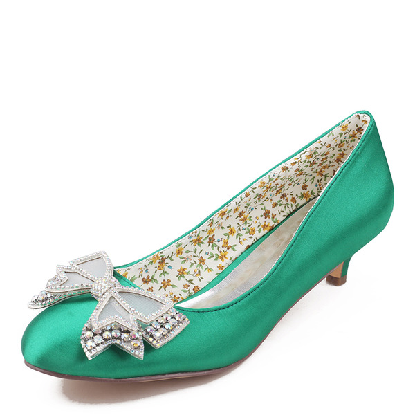 Women's Silk Like Satin Kitten Heel Closed Toe With Bowknot Crystal