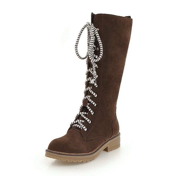 Kadın Süet Alçak Topuk Bot Diz Yüksek Boots Ile Bağcıklı ayakkabı