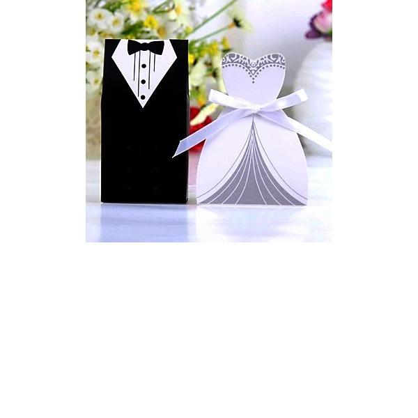 Smoking & Abendkleid Geschenkboxen mit Bänder (Satz von 6 Paaren)