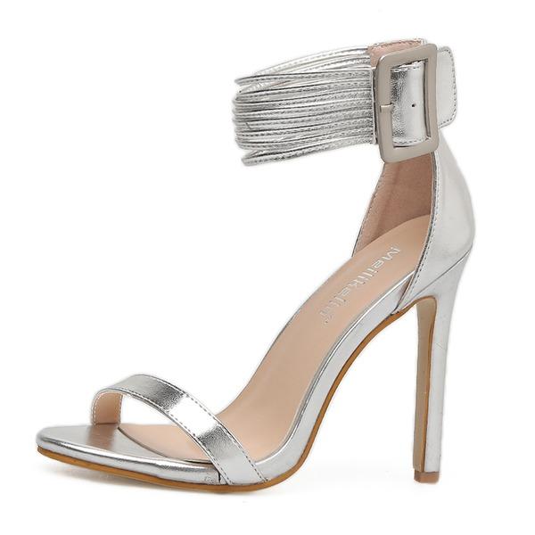 Donna PU Tacco a spillo Sandalo Stiletto Punta aperta con Fibbia scarpe