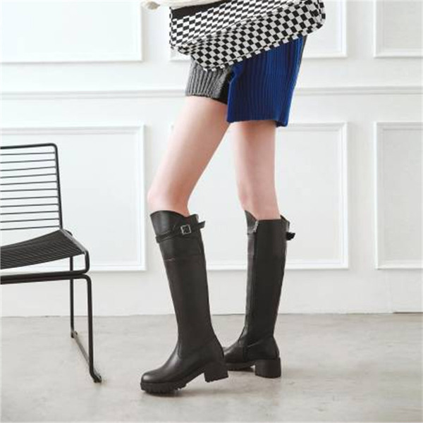 Women's PU Chunky Heel Knee High Boots With Buckle shoes