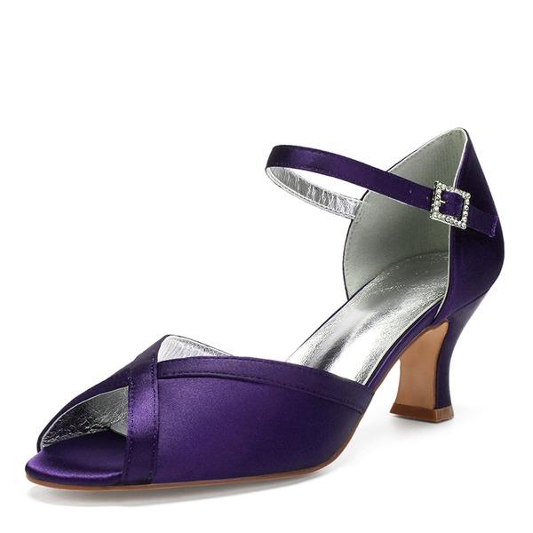 Kadın İpeksi Saten Kalın Topuk Peep Toe Sandalet Mary Jane Ile Yapay elmas