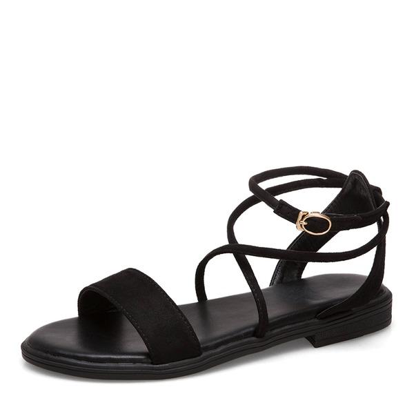 Frauen Veloursleder Flascher Absatz Sandalen Flache Schuhe Peep Toe Slingpumps mit Schnalle Zuschnüren Schuhe