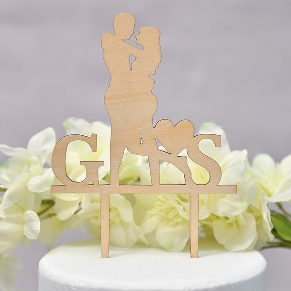Personalized Mr. & Mrs./Happy Anniversary Wood Cake Topper (Sold in a single piece)
