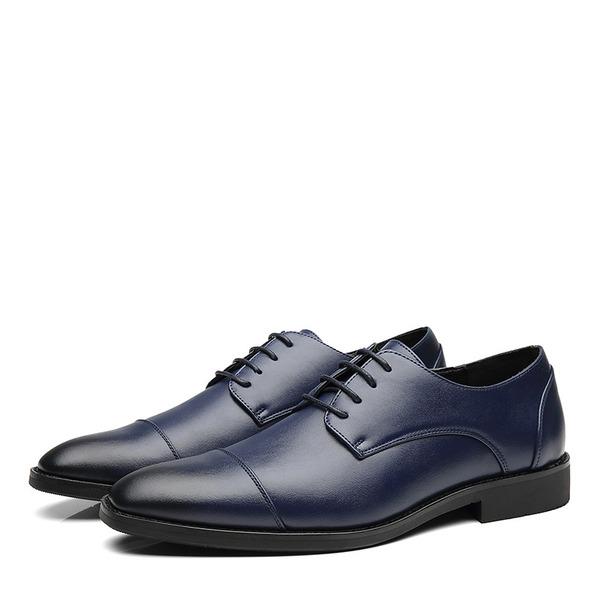 Erkek suni deri Cap Toes Bağcıklı Elbise Ayakkabıları Erkek Oxford Ayakkabı