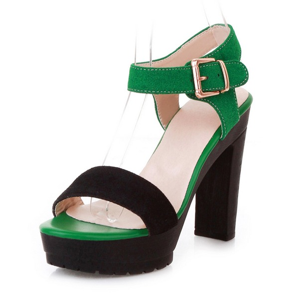 Women's Leatherette Chunky Heel Sandals Pumps Platform Peep Toe Slingbacks With Buckle shoes