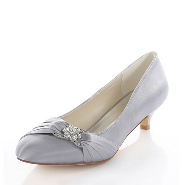 Women's Silk Like Satin Kitten Heel Pumps With Crystal